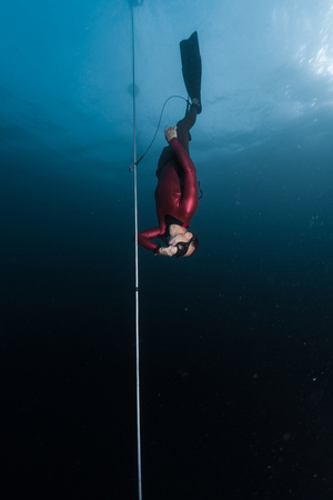 Freediver glides along the rope during the free fall phase of dive. Compensates preasure with hand and has safety leash on a leg Stock Photo
