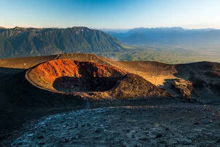 Old crater of the volcano of Osorno, Chile Stock Photo