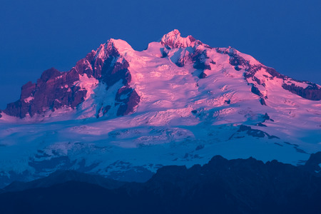 Extinct stratovolcano of Tronador during sunset, Chile