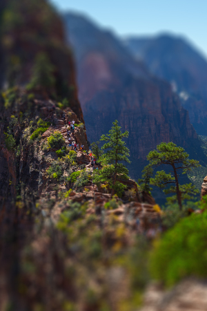 Tourists and visitors (barely visible in the center of frame) of the Zion National Park walk on the steep and dangerous trail named Angels Landing, USA. Tilt shift effect applied