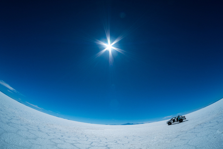 Sunny day in Uyuni salt flat, Bolivia Stock Photo