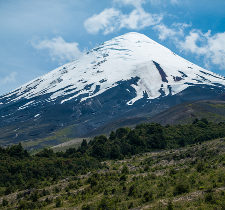 Snow capped stratovolcano of Osorno at summer. Patagonia, Chile