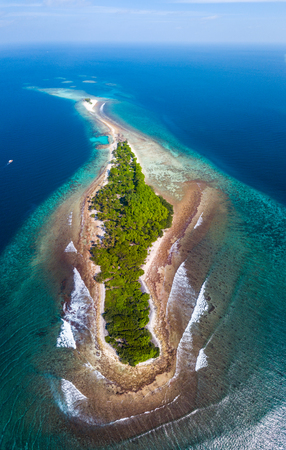 Aerial view of the island of Thanburudhoo with clear tropical water, lush greeery and waves breaking over coral reef. Island is a home for surf spots named Sultans (righhander) and Honkeys (lefthander). Maldives.
