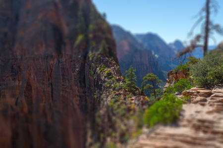 Tourists and visitors (barely visible in the center of frame) of the Zion National Park walk on the steep and dangerous trail named Angels Landing, USA. Tilt shift effect applied Stock fotó - 106961340