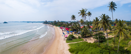 Aerial view of the beach in the town of Welligama, Sri Lanka