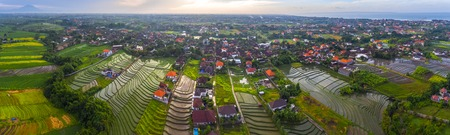 Aerial panorama of the village of Pererenan and the rice fields on the island of Bali, Indonesia
