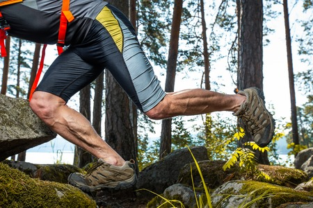 Muscled legs of the trail running athlete crossing rocky terrain in the forest 写真素材