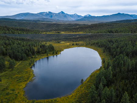 Aerial view of the lake of Kidelyu near the Ulagan mountain pass, Altai Republic, Russia
