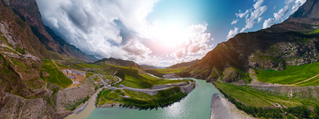 Aerial panorama of the river of Katun in the place of confluence with the river of Chuya. Altai Republic, Russia