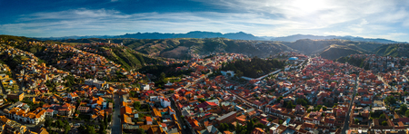 Aerial panorama of the city of Sucre at sunset. Bolivia