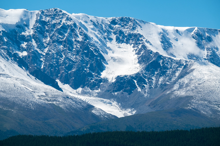 Mountains covered with snow. Northern Chuysky Range, Altai, Russia
