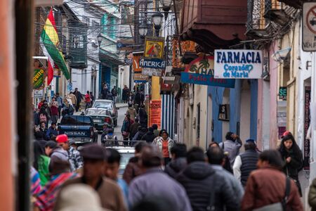 POTOSI, BOLIVIA - 02 APRIL 2018: Crowded narrow street of the city of Potosi