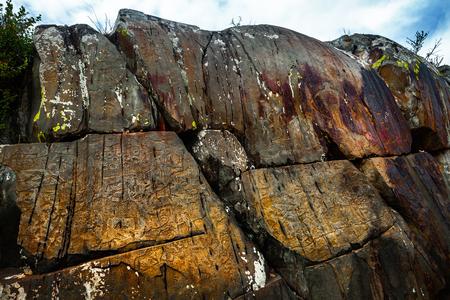 Petroglyphs of the Kalbak Tash complex. Altai, Russia