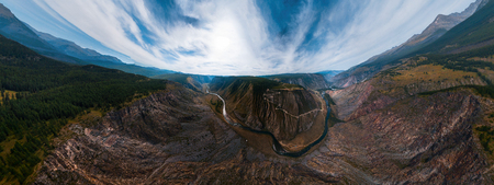 Aerial panorama of the Katu Yaryk mountain pass and the valley of the river of Chulyshman. Altai Republic, Russia