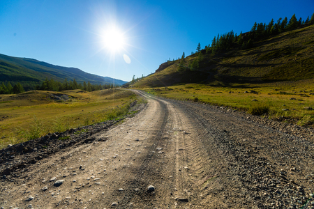 Gravel road in Altai mountains, Russia Stok Fotoğraf