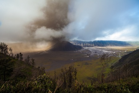 The volcano of Bromo during ash eruption happend in January 2011. Indonesia