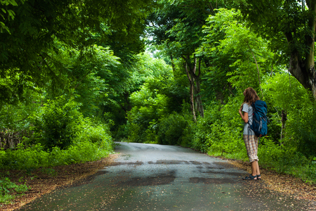 Woman hiker with backpack stands on the road and watches lush green foliage of the tropical trees Stock fotó - 114552372