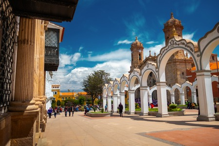 Center of the city of Potosi at sunny day, Bolivia