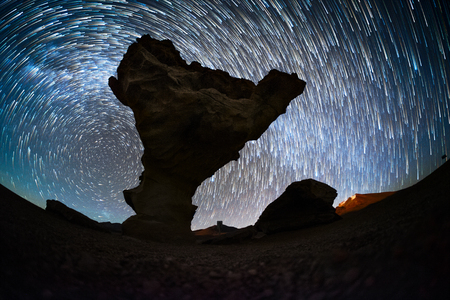 Starry sky with the star trails like comets and rock formation named Arbol de Piedra (Stone Tree) in Eduardo Avaroa Andean Fauna National Reserve of Sur Lopez Province, Bolivia Banco de Imagens