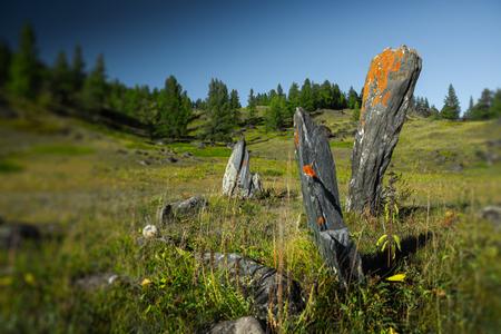 Spiritual rocks in the field. Altai, Russia