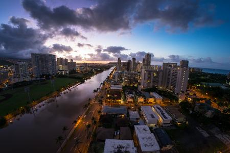 City of Honolulu at early morning. Hawaii, USA