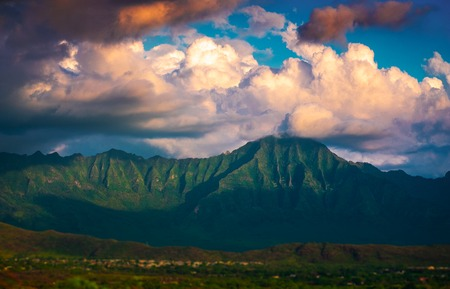 Clouds over the green mountains of Oahu island, Hawaii