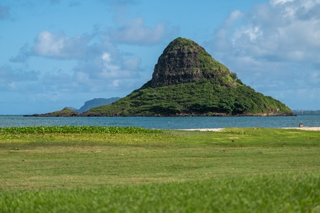 The island of Mokolii, also known as Chinamans Hat, Oahu, Hawaii