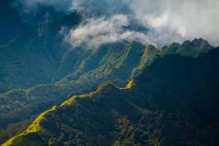 Clouds in the mountains of Oahu island, Hawaii Stock Photo