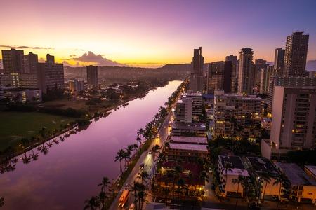 City of Honolulu at sunrise. USA Stock Photo