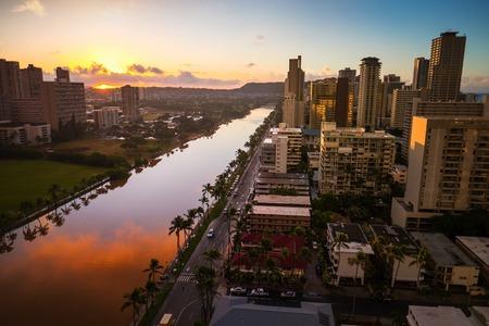 City of Honolulu at sunrise. Hawaii, USA