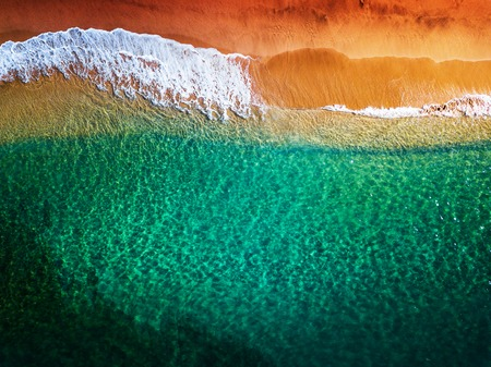 top down view of the tropical beach. Oahu, Hawaii Stock Photo