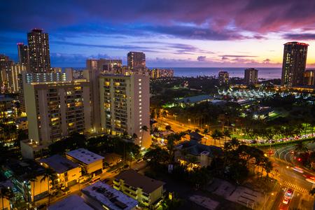 City of Honolulu during sunset. Hawaii, USA