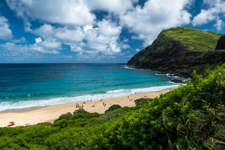 Green lush coast, blue ocean and sky with fluffy clouds. Oahu, Hawaii
