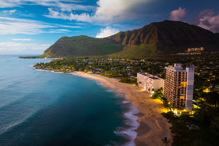 Composite image of Papaoneone beach on the west coast of Oahu, Hawaii