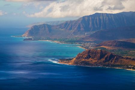 view of the coastline of the island of Oahu, Hawaii, USA