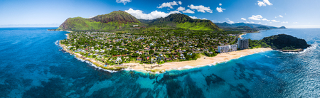 Aerial panorama of the west coast of Oahu with Makaha Valley and Papaoneone beach. Hawaii, USA Stock Photo