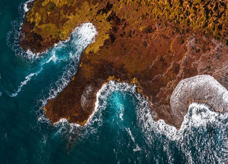 Aerial view of the North Shore of Oahu in the area of Shark Cove. Hawaii
