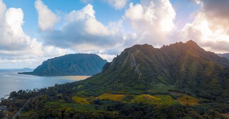 Aerial panorama of the East Shore, or leeward side of Oahu, Hawaii