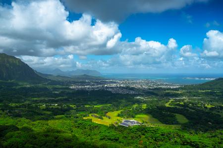 Leeward coast of Oahu, view from Pali lookout. Hawaii, USA