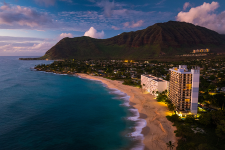 Papaoneone beach on the west coast of Oahu at twilight, Hawaii Stock Photo