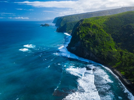 Aerial view of the North Coast of the Big Island, area near Pololu valley, Hawaii