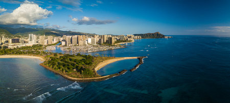 Aerial panorama of the city of Honolulu, Oahu, Hawaii