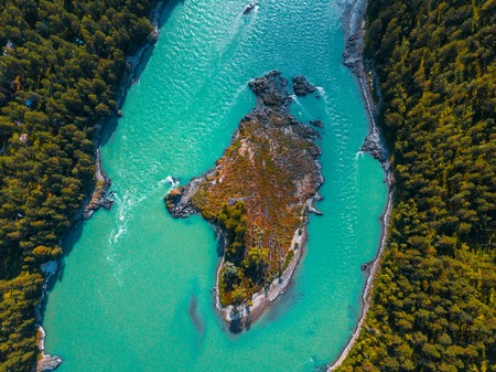 Aerial view of the island in the middle of mountain river of Katun. Altai, Russia Stock Photo