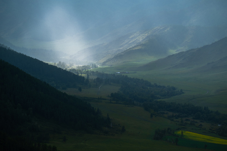 Light in the Mountains, Altai, Russia Stock Photo