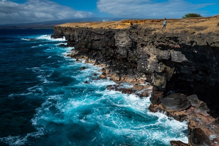 Steep coast of the southernmost point of the USA, Big Island, Hawaii Reklamní fotografie