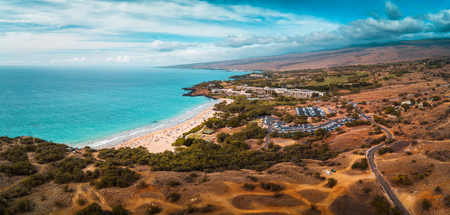 Aerial panorama of the Hapuna Beach State Park. West coast of the Big Island, Hawaii Stock fotó - 119277546