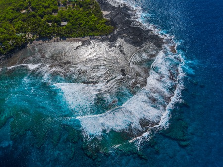 Aerial view of the coast of the Big Island, Hawaii