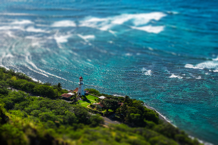 Lighthouse on the island of Oahu, Hawaii. Tilt shif effect applied Stock fotó
