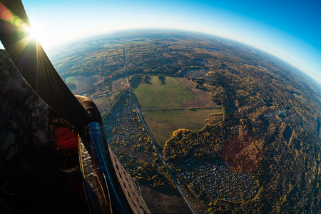 Aerial, aerostat view of the suburban area of the city of Izhevsk with roads, villages and autumn forest. Russia Stock fotó