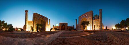 Panorama of Registan square in the city of Samarkand, Uzbekistan